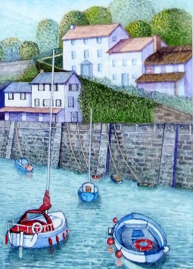 Boats In Harbour painting - Exhibition by North Surrey Artists at Woking Surrey Gallery