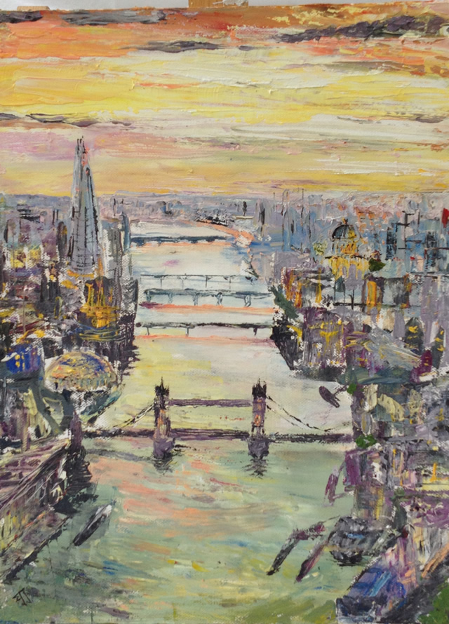 Tower Bridge & River Thames London painting - Exhibition by North Surrey Artists at Woking Surrey Gallery