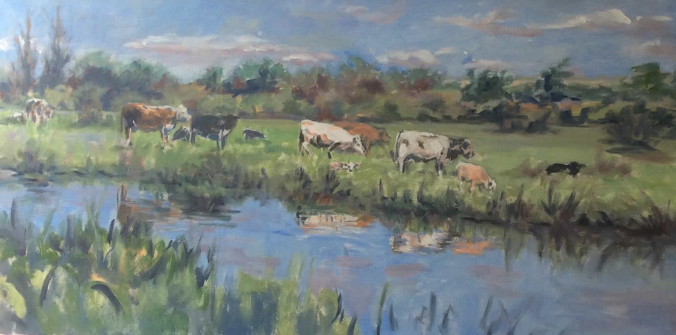 Cows by River Wey Anne Marie Nijeboer Art Exhibition in Woking Surrey