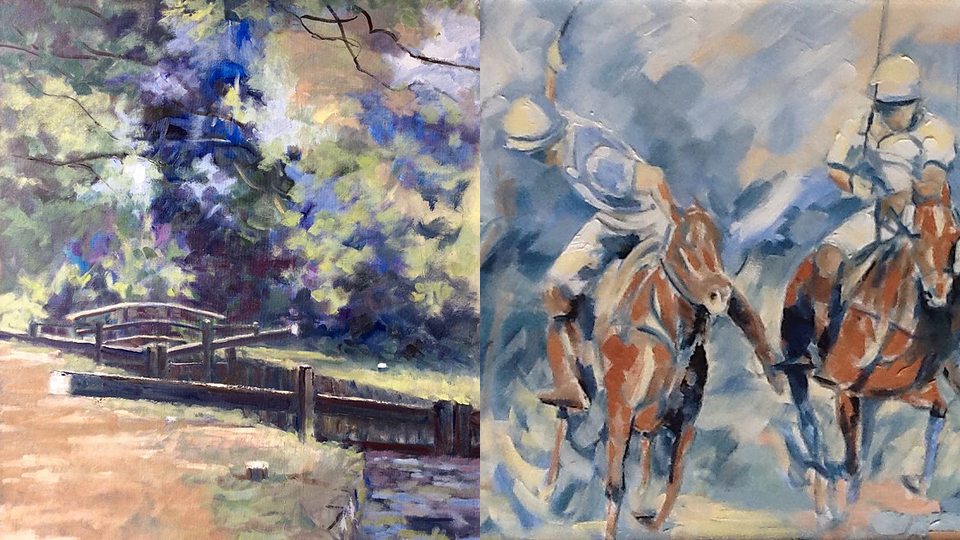 Anne Marie Nijeboer Woking Art Exhibition - Paintings of River Wey and Polo Horses