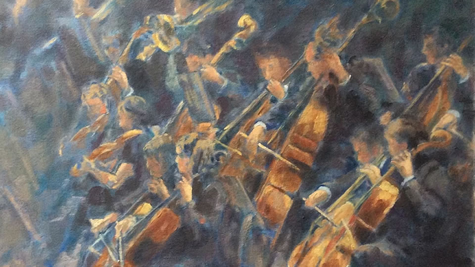 Orchestra - Strings Section - Painting by Artist ANNEMARIE NIJEBOER - Exhibion at barbers gallery Woking Surrey