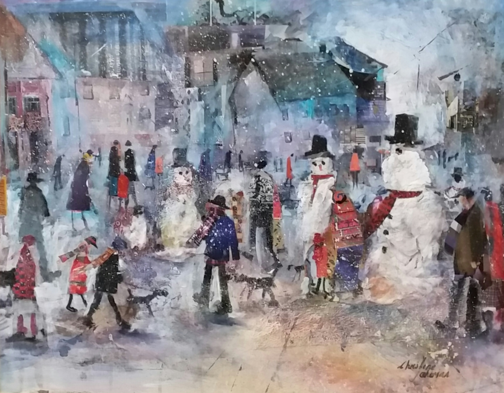 Snowmen painting by Christine Taherian
